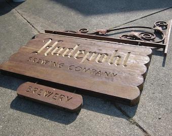 Vintage Hudepohl Sign - Wood with Iron Hanger HUGE