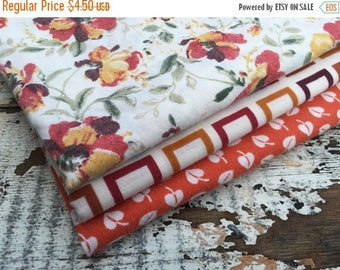 MEMORIAL DAY SALE- Fat Quarter Bundle- Fabric -Reclaimed Bed Linen fabric-Autumn Retreat