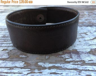 40% OFF- Custom Leather Cuff-Create Your Own-Rustic Stitched Brown Leather-Word Cuff