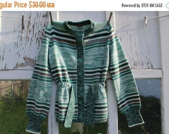 CRAZY SALE- Vintage Green Cardigan-Carsom Pirie Scott-Acrylic-Striped-Button Up