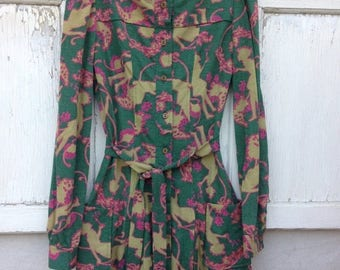 CRAZY SALE- Vintage Knit Dress-Whimsical Frock-Green Button Front-Small