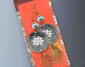 Bottle cap earrings. Broken Bow Brewing. Long earrings. Reuse. Recycle. Upcycle.