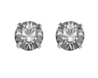Swarovski Crystal Stud Earrings Sterling Silver Black Diamond or CHOICE OF COLOURS
