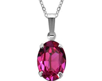 Swarovski Crystal Oval Pendant Necklace Sterling Silver Fuchsia Pink or CHOICE OF COLOURS
