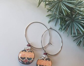 holiday baubles...earrings...festive christmas ornament hoops