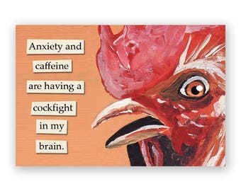 Anxiety and Caffeine Magnet - Bird - Humor - Gift - Stocking Stuffer - Mincing Mockingbird