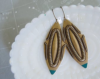 large light weight aged brass boho gypsy dangle earrings with teal tip accent