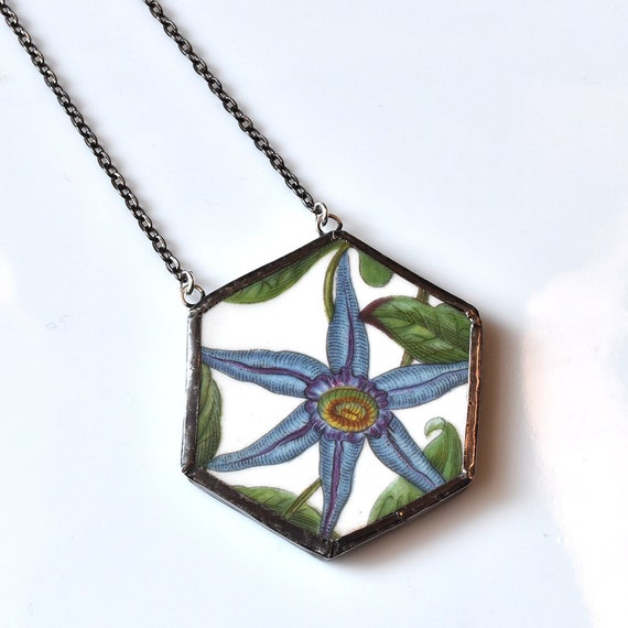 Broken China Jewelry Hexagon Necklace - Blue Floral