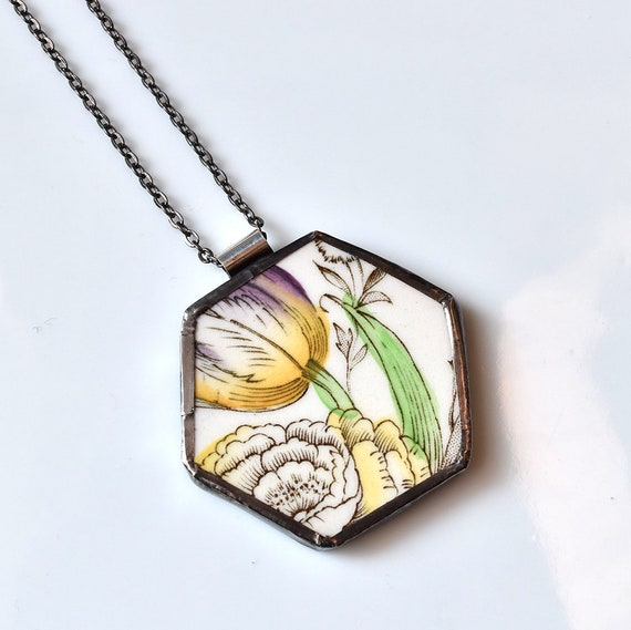 Broken China Jewelry Hexagon Necklace - Yellow and Purple Floral