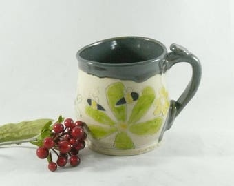 Ceramic Coffee Cup, Unique Coffee Mugs, Pottery Teacup, Ceramics and Pottery, Anniversary Gift, Birthday Gift, Save the Bees 920