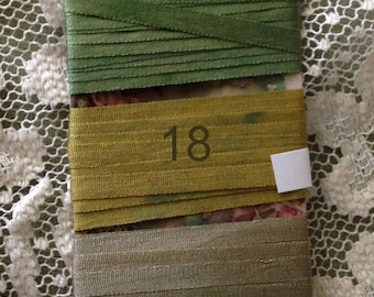 Hand dyed 4mm silk ribbon Greens
