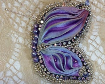 Silk Shibori Butterfly Pendant Purple
