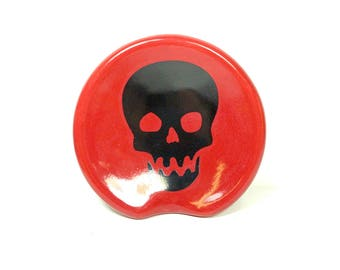 handle-less spoon rest / spoon dish with a Scooby skull print on Berry Red  READY to SHIP