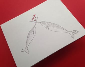 Narwhal Valentine, Narwhal Anniversary Card, Narwhal Wedding Card, Narwhal Greeting Card, Narwhals in Love