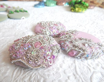 3 pink silver beaded embroidered fabric buttons, 1.9 inches, 4.7 cm, 48.26 mm, size 75 buttons
