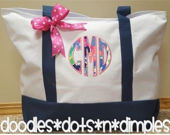 Monogrammed Lilly Pulitzer monogrammed Beach Bag