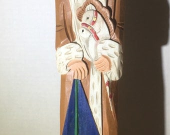 "Wooden Santa 1903 Russia 15"" tall Christmas"