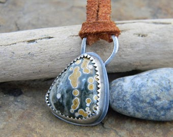 Ocean Jasper Necklace -  sterling silver on suede leather cord - oxidized and rustic - hidden tree cut out on back