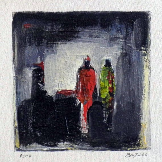 Daily Painting  A007 Small Abstract Study Painting Artwork by BenWill