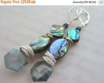 CIJ SALE Abalone and Teal Quartz Earrings.  Abalone Shell Earrings. Paua Shell and Teal Quartz Earrings.