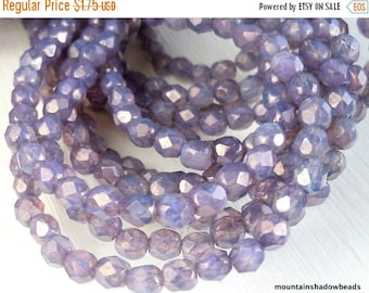 20% Summer SALE Milky Amethyst Luster 4mm Czech Beads -  Firepolished Faceted 50 pcs (G - 23)