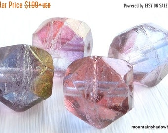 20% Summer SALE Amethyst Luster Czech Glass Beads 16mm English Cut - You Choose Quantity