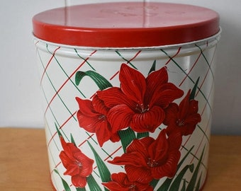 march madness vintage amaryllis metal canister