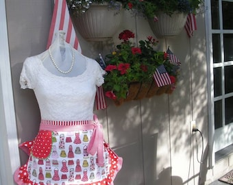 Womens Red Aprons - Aprons with Apron Fabric - Kiss the Cook Apron Fabric - Red Aprons - Pink Aprons - Handmade Aprons - Annies Attic Aprons