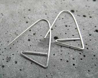 Neolithic, modern silver earrings, graphic geometric earrings,  edgy silver hoops, original thread through earrings