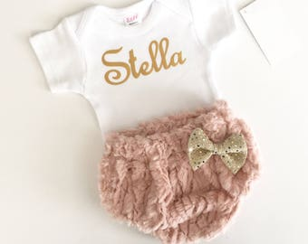 PERSONALIZED Shabby chic...dusty rose faux fur DIAPER COVER with vintage gold writing - bodysuit set---new baby