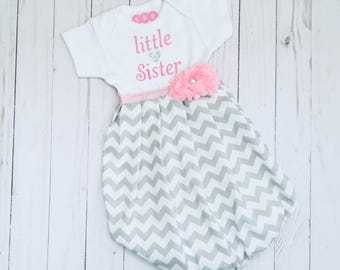 Little sister BABY GOWN -- shabby chic in grey chevron with pink accents --- new baby coming home hospital outfit....girls clothing