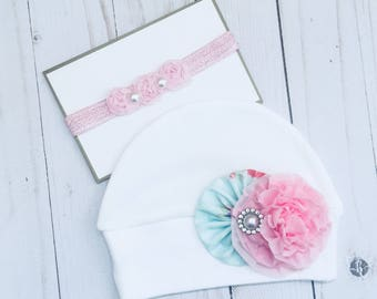 BOUTIQUE Shabby Chic... HEADBAND or HAT or Both.. girls clothing