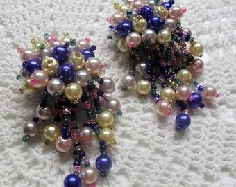 Muti-Colored  Waterfall Earrings, Cha Cha Earrings, Dangle Pearls, Cluster Earrings, Statement Earrings