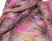 Recycled Carded Sari Silk Fibres - Multi 50g