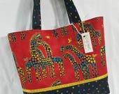 Mythical Jungle Giraffe made w/ Laurel Burch fabric purse tote bag