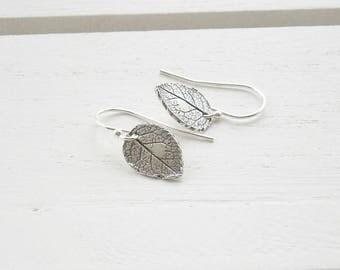 Dainty silver leaf earrings - silver drop earrings - sterling silver earrings