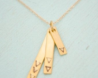 ON SALE Cascading Bars, TRIANGLE Rectangular Pendants- handmade sterling silver handcrafted by Chocolate and Steel