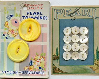 2 Cards Pearl Buttons Vintage Mother of Two Sets of Vintage New Old Stock Graphics Yellow GRAPHICS Matching Art Deco 4257