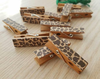 Brown Cheetah Leopard Spots - Animal Print Chunky Little Clothespin Clips w Twine for Display - Set of 12 - Boy Baby Birthday Shower