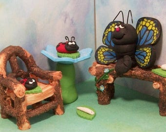 SUMMER SALE 20 % off Ladybugs butterfly and worm friends with bench and chair, miniatures fairy garden, gnome or terrariums