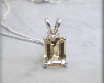 Golden Citrine Necklace, Emerald Cut Stone, 925 Sterling Silver, November Birthstone, Natural Citrine Gemstone, Citrine Jewelry (SN1054)