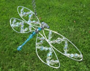 Dragonfly Suncatcher, Dragonfly Mobile, Vintage Crystal Beaded Dragonfly, Beaded Dragonfly,