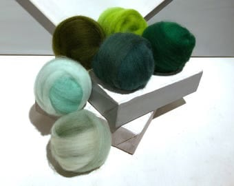 "Green roving sampler, Green Felting wool kit, ""Eat Your Greens"" Spruce, Mint Green Sage Lime Dark Olive Emerald, wool roving kit, fly tying"