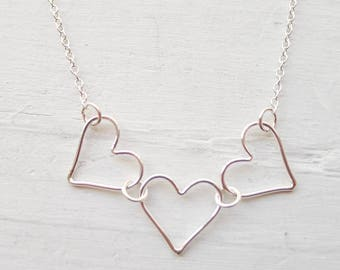 Three Heart Necklace Wire Heart Pendants Three Sisters Gift 3 Best Friend Necklaces Open Heart Charm Sterling Silver Heart Necklace Gifts