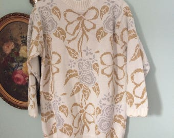 Vintage bows and flowers metallic 1980's sweater
