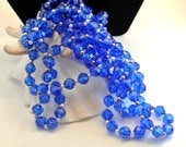 Two Royal Blue Faceted Long Bead Necklace 34 Inch 1990s Necklace 8mm Blue Bead 3mm Pearl Bead Blue Bead Necklace Blue Necklace