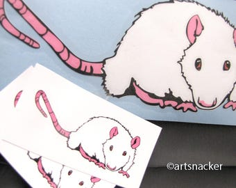 White Rat Decal and Stickers 3 x 7