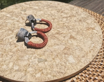 east to west earrings - red