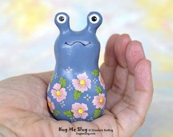 Handmade Slug Figurine, Miniature Sculpture, Spode Blue, Pink Floral, Hug Me Slug, Animal Totem Charm Figure with Flowers, Personalized Tag