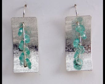 WATERFALL - Gorgeous Apatite - Handforged Hammered Pewter & Sterling Earrings
